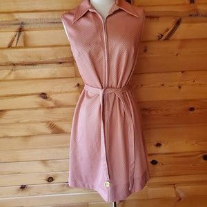1960s Unlabeled Dusty Rose & White Polka Dot Dress
